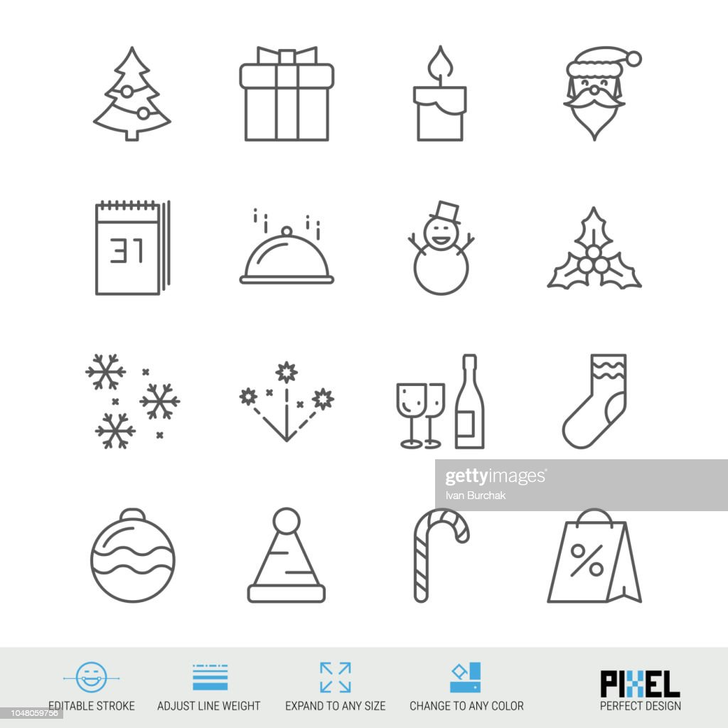 Merry Christmas and Happy New Year Vector Line Icons Set. Christmas and New Year Linear Symbols, Pictograms, Signs