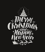 Merry Christmas and Happy New Year. Vintage inscription, lettering on chalk blackboard. Vector illustration
