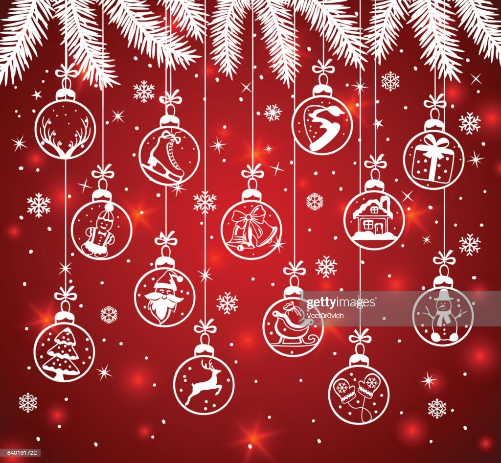 Merry Christmas And Happy New Year Winter Greeting Card Background