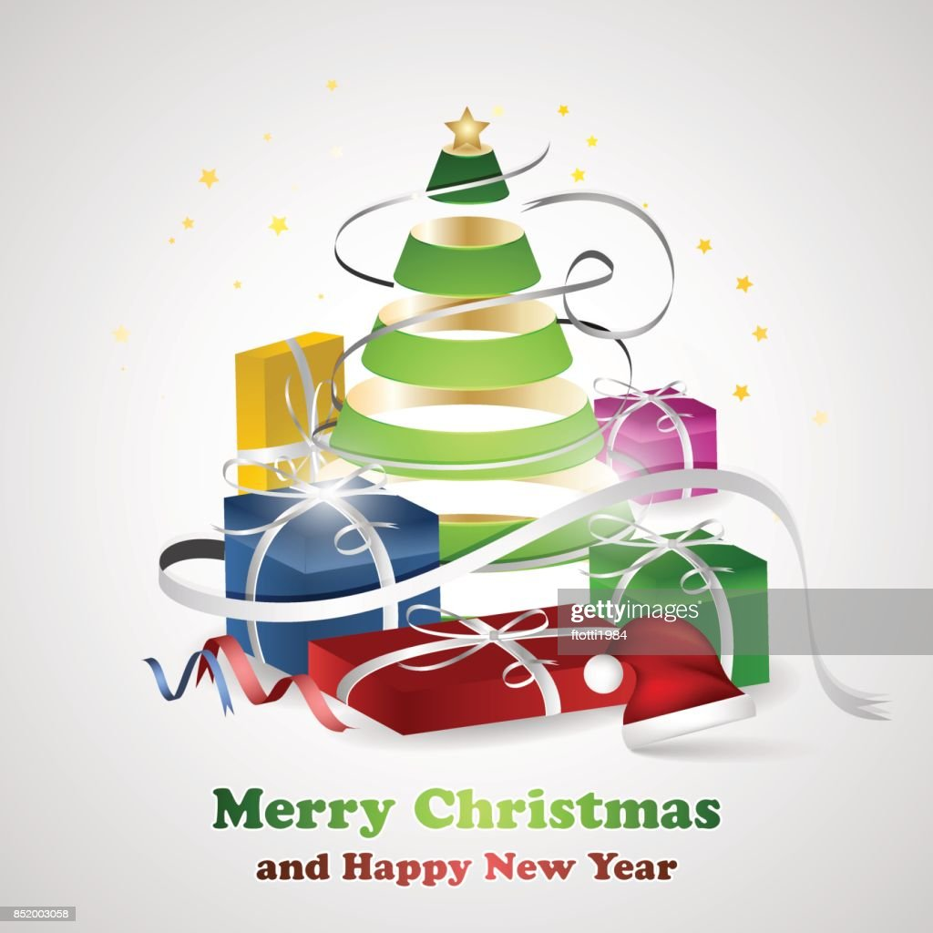 Merry Christmas And Happy New Year Wishes With Christmas Tree Vector ...