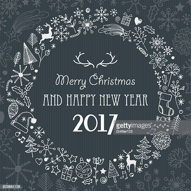 Merry Christmas And Happy New Year With Hand Drawn Elements