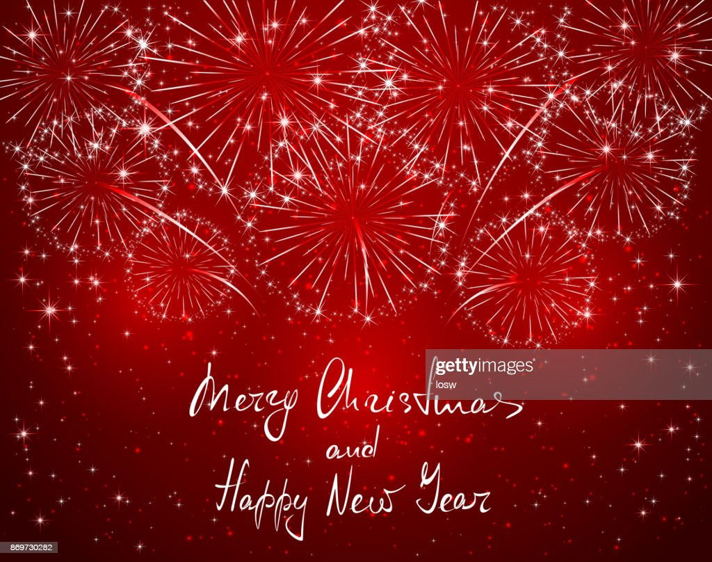 Merry Christmas and Happy New Year with red sparkle firework