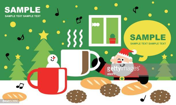 Merry Christmas and New Year Greeting Card, Coffee Time with Cute Santa Claus and Snowman