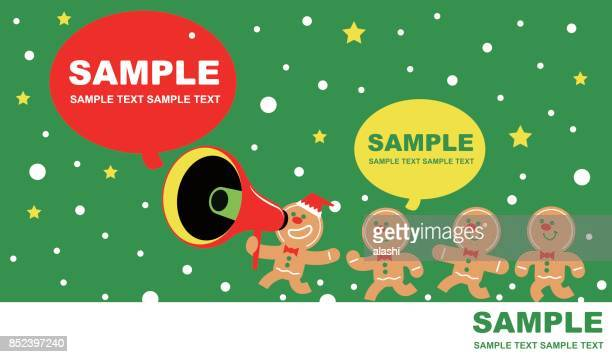 merry christmas and new year greeting card, cute gingerbread man talking through a megaphone (group of gingerbread children running and playing) - gingerbread man stock illustrations