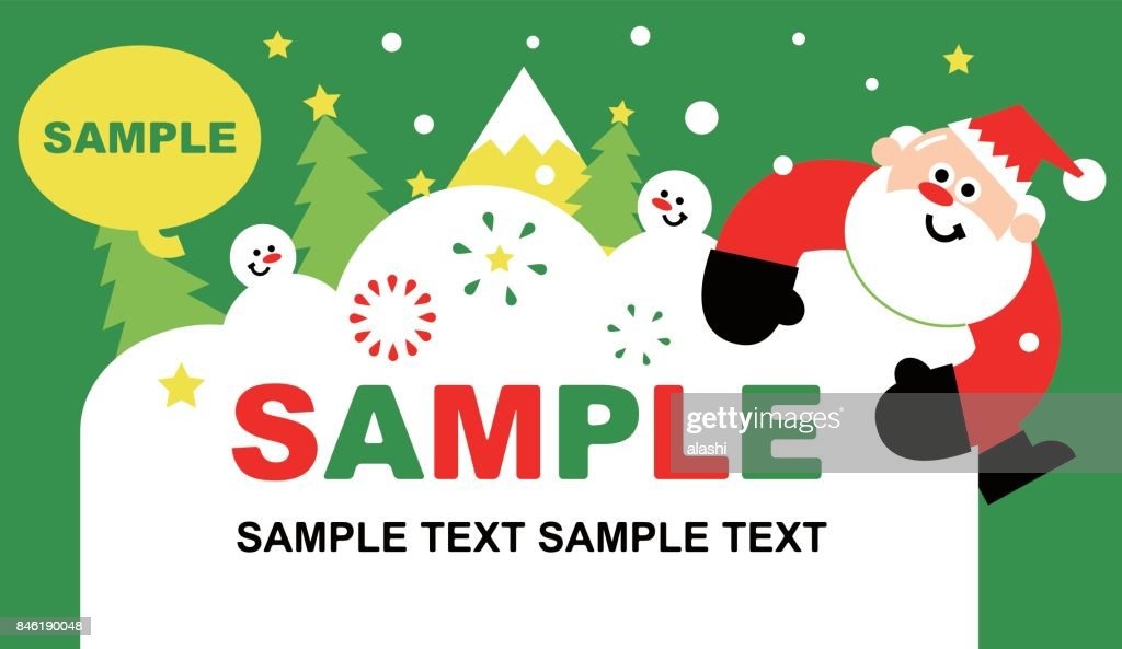 merry christmas and new year greeting card template cute santa claus holding a