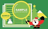 Merry Christmas and New Year Greeting Card, Cute Santa Claus Holding A Magnifying Glass and Reading Newspaper. with Snowman and Christmas Tree