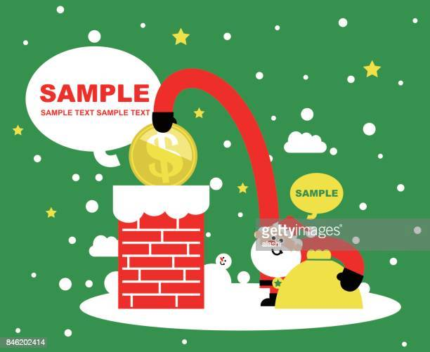 merry christmas and new year greeting card, cute santa claus putting a dollar sign coin currency into the chimney - christmas cash stock illustrations