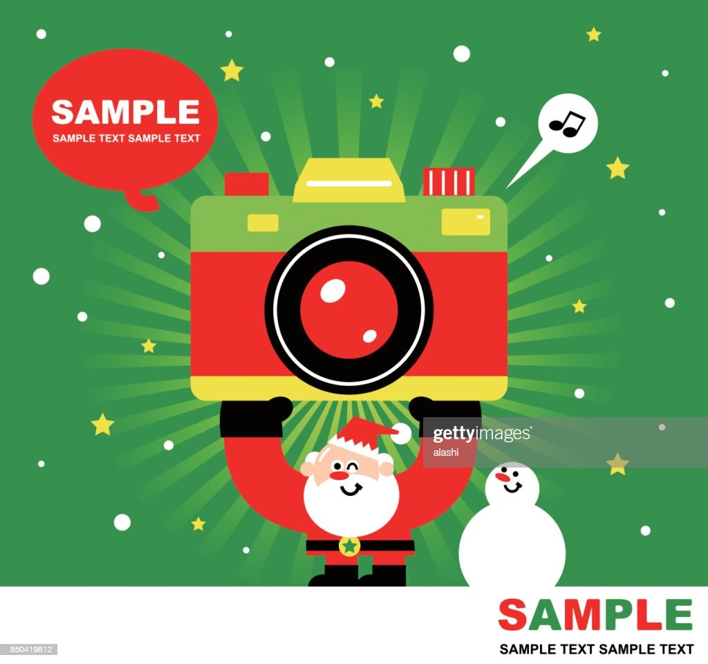 Merry Christmas And New Year Greeting Card Cute Santa Claus Snowman ...