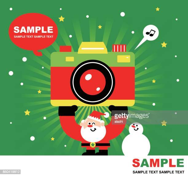 Merry Christmas and New Year Greeting Card, Cute Santa Claus, Snowman and Huge Camera, Radial Rays (Stripes) Background