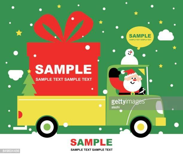illustrations, cliparts, dessins animés et icônes de joyeux noël et carte de voeux de nouvel an, mignon sourire santa claus au volant d'un camion, envoi de cadeau de noël (cadeaux). assurer le bonheur - chauffeur routier