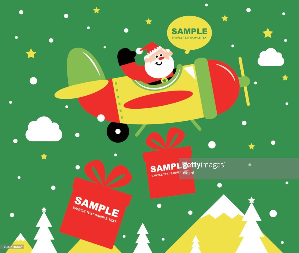 Merry Christmas and New Year Greeting Card, Cute Smiling Santa Claus Piloting A Fighter Plane, Dropping Christmas Present (Gift). Delivering Happiness