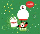 Merry Christmas and New Year Greeting Card, Cute Smiling Santa Claus Sitting On A Snowman Hot Air Balloon, Sending Christmas Present (Gift). Delivering Happiness
