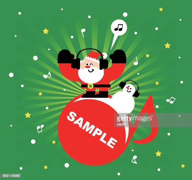 merry christmas and new year greeting card, santa claus and snowman with headset, listening to music, radial rays (stripes) background - christmas music stock illustrations
