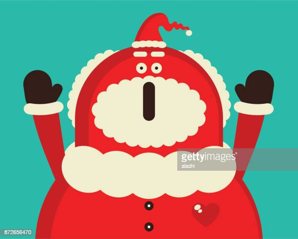 Merry Christmas and New Year Greeting Card, Santa Claus giving a suprise (or screaming)