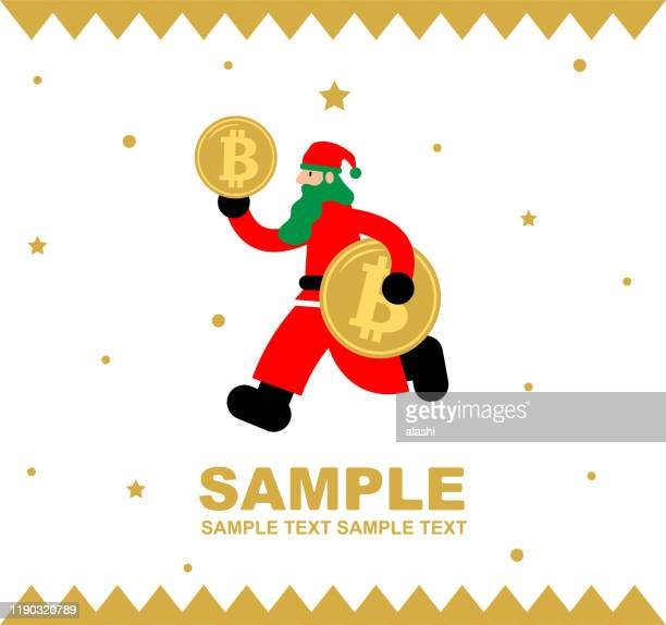merry christmas and new year greeting card, santa claus running with bitcoin cryptocurrency - christmas cash stock illustrations