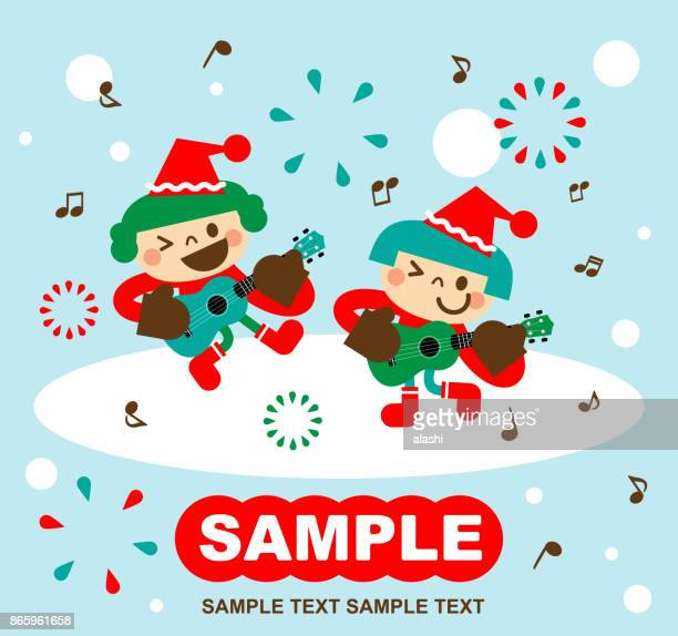 Merry Christmas and New Year Greeting Card with cute happy little girl children in Santa Claus clothes singing and playing ukulele