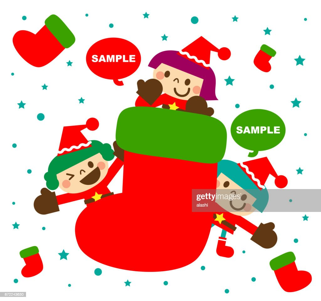 Merry Christmas And New Year Greeting Card With Cute Happy Little