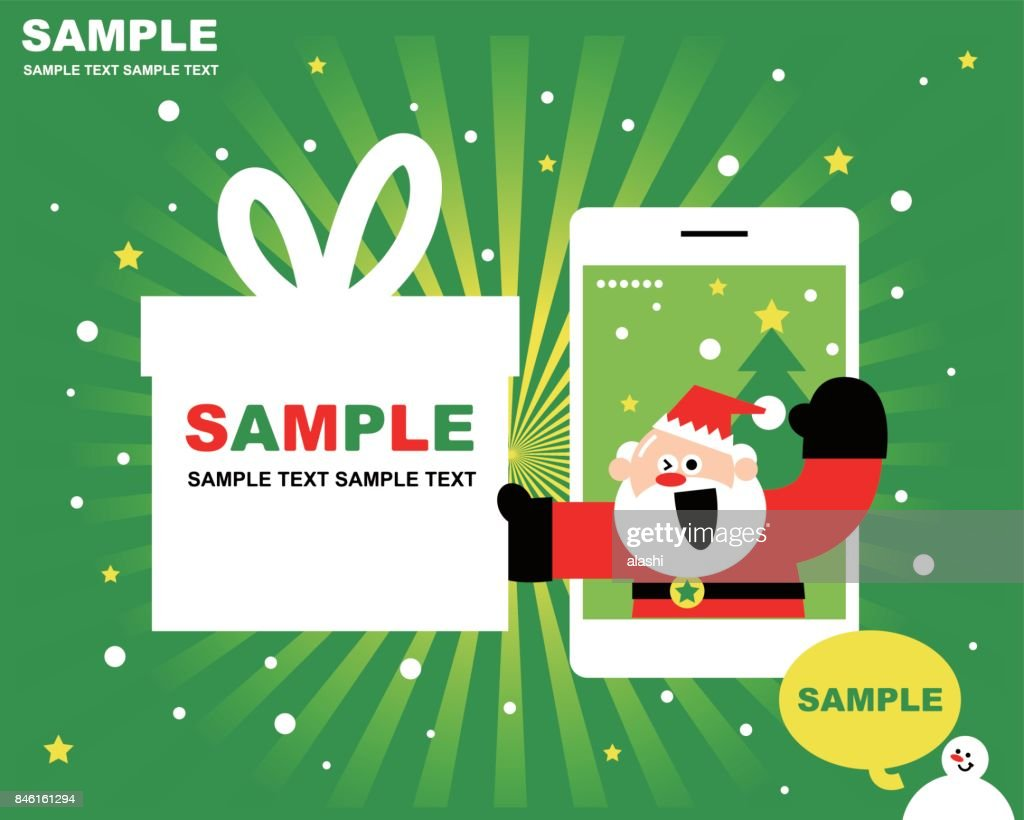 Merry Christmas And New Year Greeting Card With Cute Santa Claus