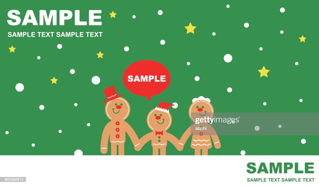 merry christmas and new year greeting card with gingerbread man family father mother and