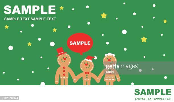 Merry Christmas and New Year Greeting Card with Gingerbread Man Family (Father, Mother And One Child)