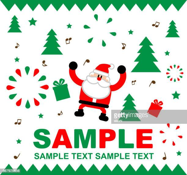 merry christmas and new year greeting card (template) with music and fireworks, cute santa claus dancing - national holiday stock illustrations, clip art, cartoons, & icons