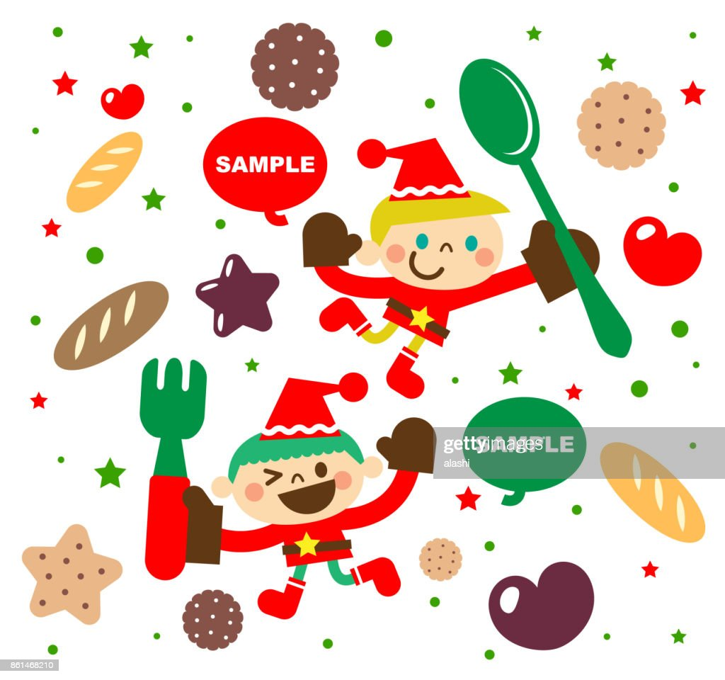 Merry Christmas And New Year Greeting Card With Sweet Food And Cute