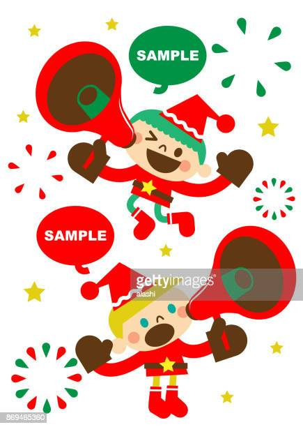merry christmas and new year greeting, cute happy little boy children in santa claus clothes talking through a megaphone - national holiday stock illustrations, clip art, cartoons, & icons