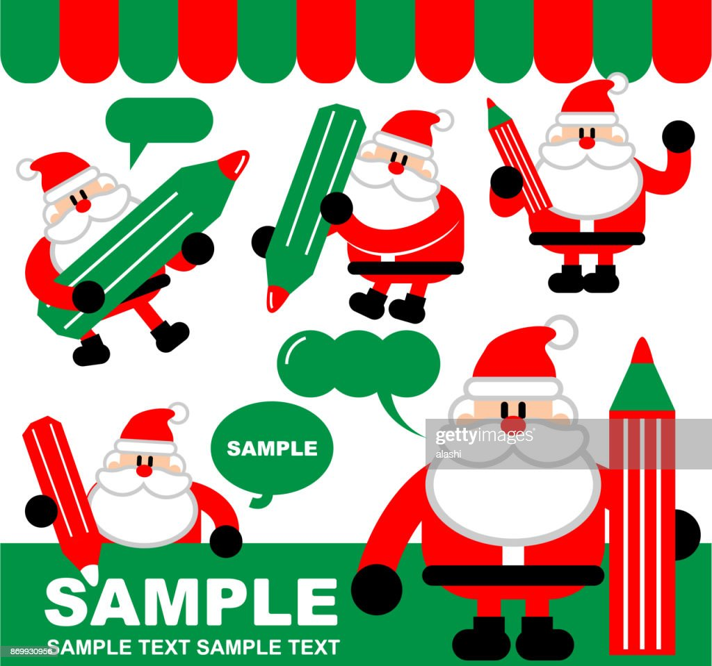Merry christmas and new year greeting cute santa claus writing with merry christmas and new year greeting cute santa claus writing with a pencil drawing m4hsunfo