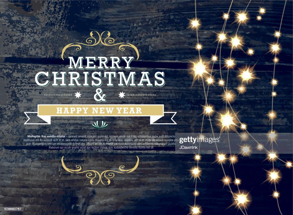 Merry Christmas and New Year invitation template with string lights