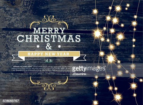 merry christmas and new year invitation template with string lights vector art getty images