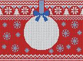 Merry Christmas and New Year seamless knitted pattern with Christmas balls, snowflakes and fir. Scandinavian style. Winter Holiday Sweater Design. Vector Illustration.
