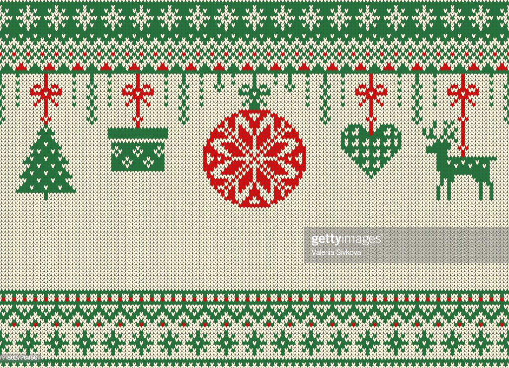Merry Christmas And New Year Seamless Knitted Pattern With Christmas