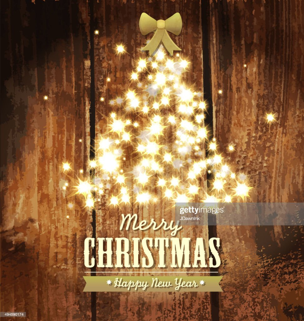 merry christmas and new year sparkling holiday tree design template vector art