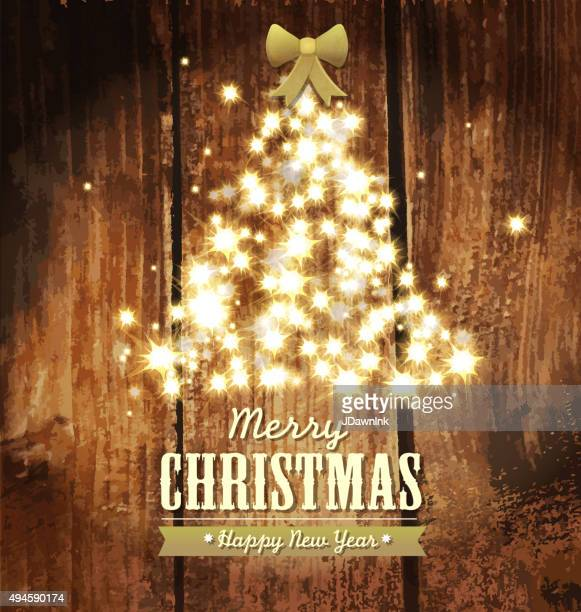 Merry Christmas and New Year sparkling Holiday tree design template