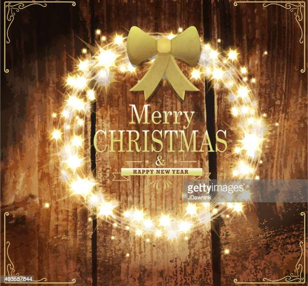 Merry Christmas and New Year sparkling wreath design template