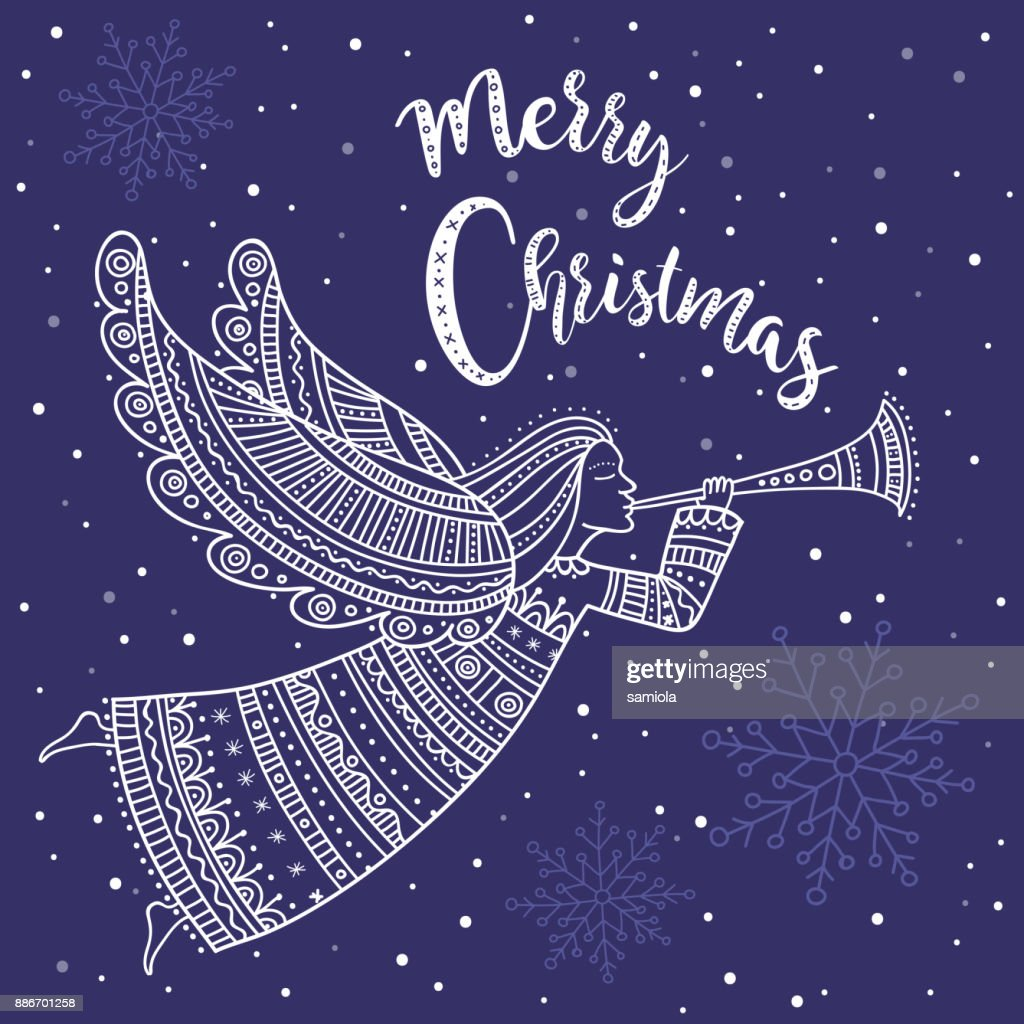 Frohe Weihnachten Ukrainisch.Frohe Weihnachtenengel Mit Horn Und Schnee Stock