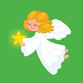 Merry Christmas Angels Greeting Card. vector illustration