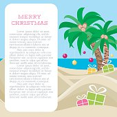 Merry Christmas At The Tropical Beach Card Template