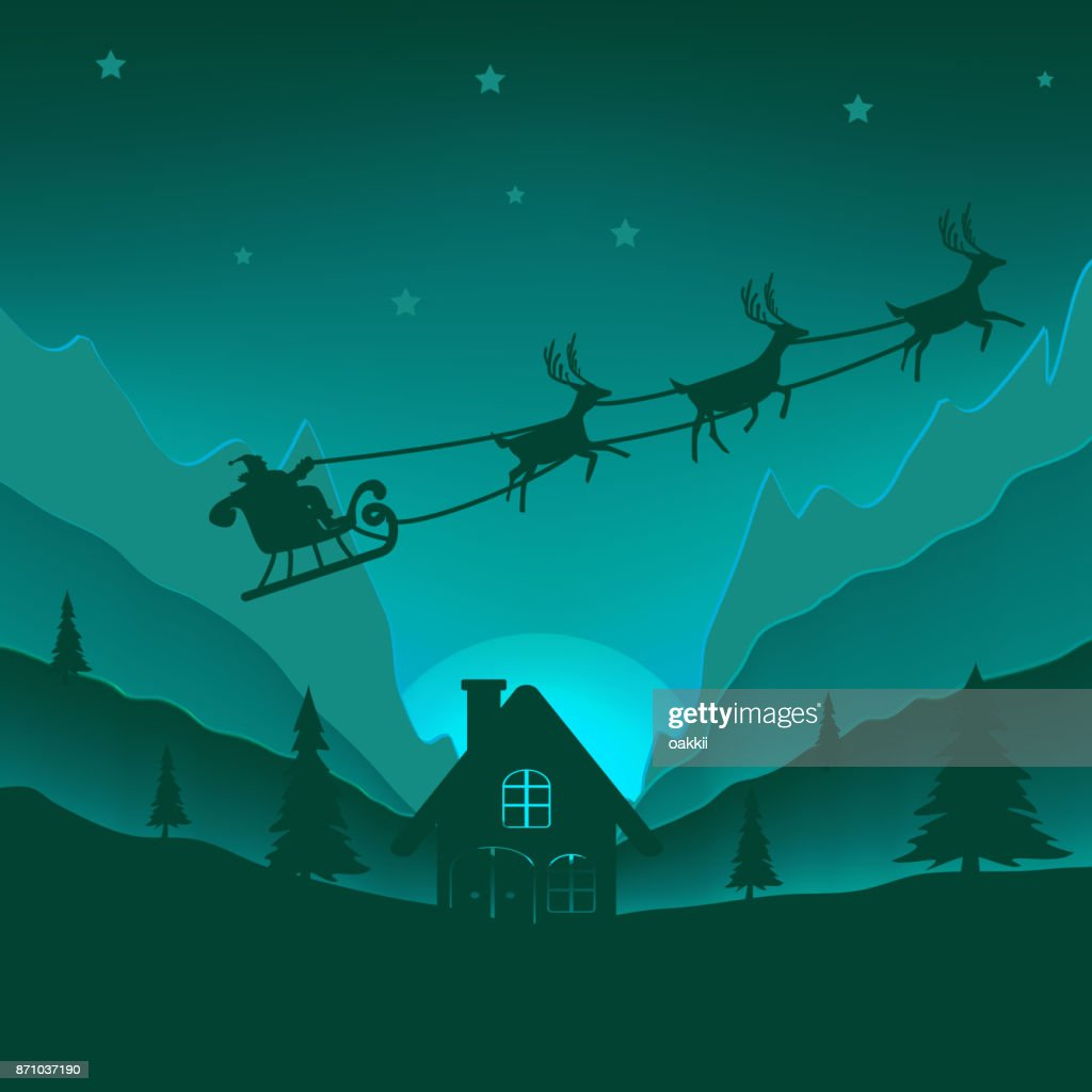 Merry Christmas background. Light Paper cut and craft style. Santa Claus ride reindeer on sky after give gift child at home.