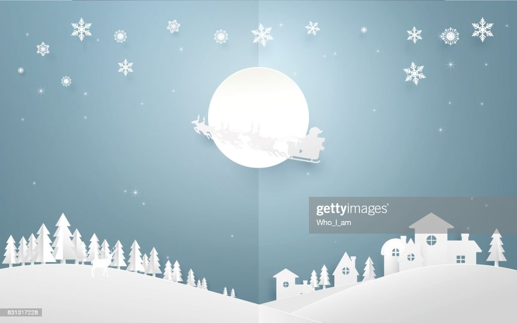 Merry Christmas background. Santa Claus flying in a sleigh with reindeer on full moon over country side city. Paper art and origami style design