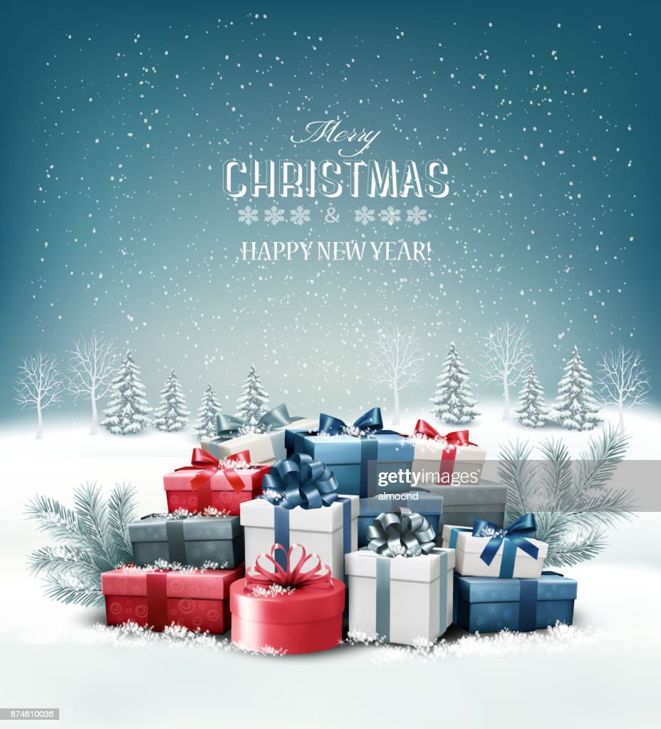 Merry Christmas Background with branches of tree. Vector
