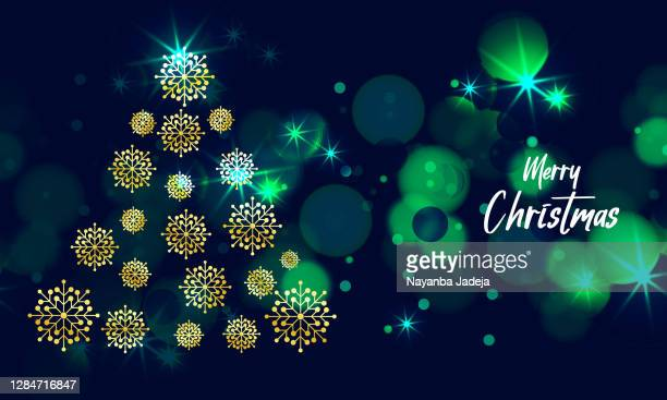 merry christmas background with golden snowflakes tree - heading the ball stock illustrations