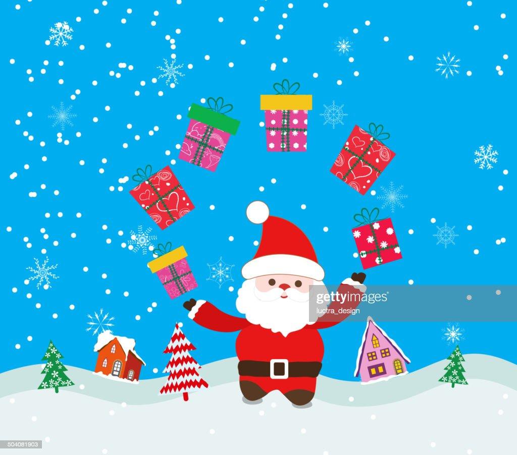 Frohe Weihnachten Hintergrund Mit Santa Claus Und Geschenk ...