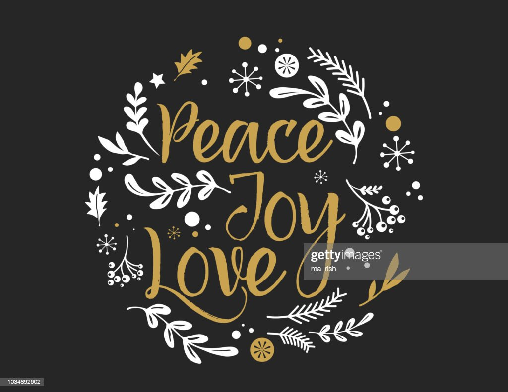 Merry Christmas Background with Typography, Lettering. Greeting card - Peace, Joy, Love - stock vector