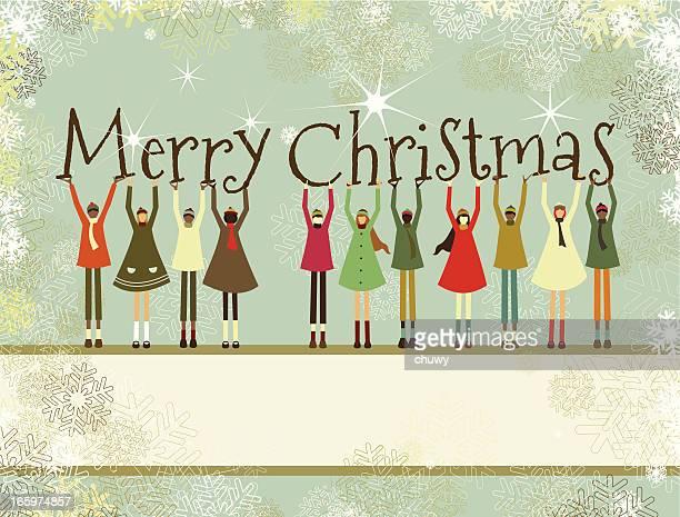 Merry Christmas banner y niños