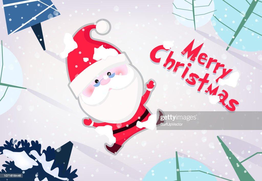Merry Christmas banner design. Cartoon Santa Claus