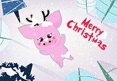 Merry Christmas banner design. Cute piggy