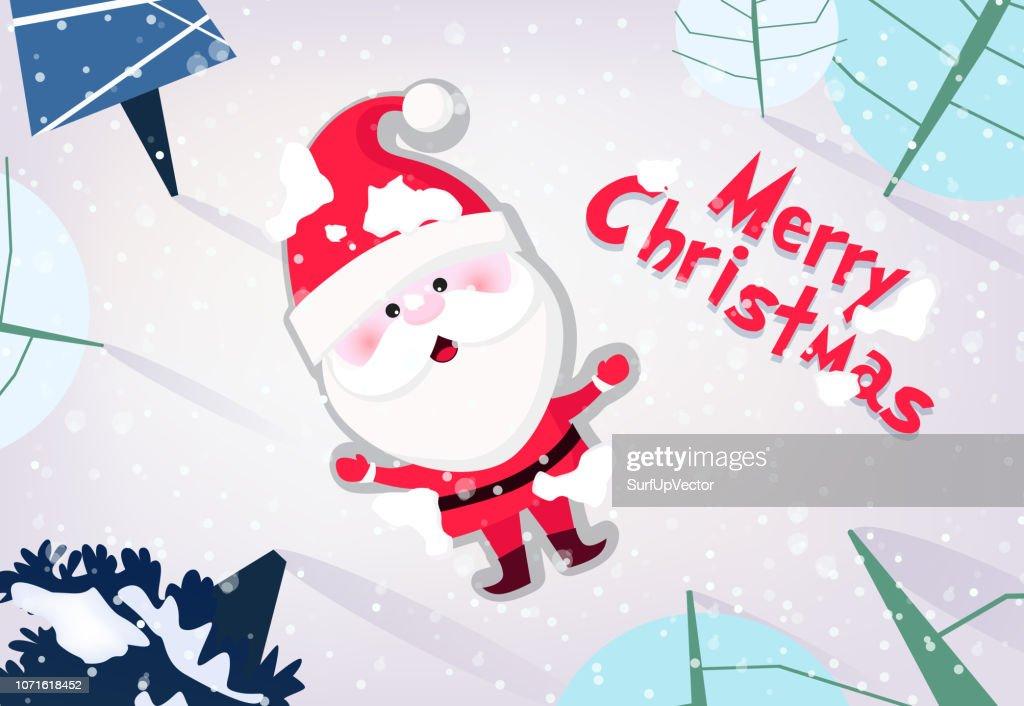Merry Christmas banner design. Cute Santa Claus
