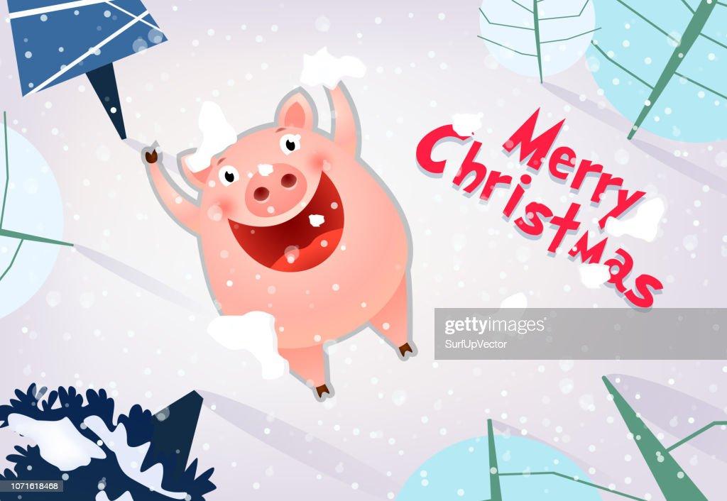 Merry Christmas banner design. Joyful pig