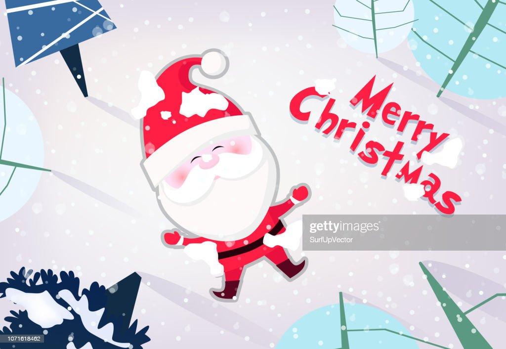 Merry Christmas banner design. Joyful Santa Claus
